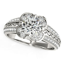 Round Diamond Floral Motif Engagement Ring in 14k White Gold (1 3/8 cttw)