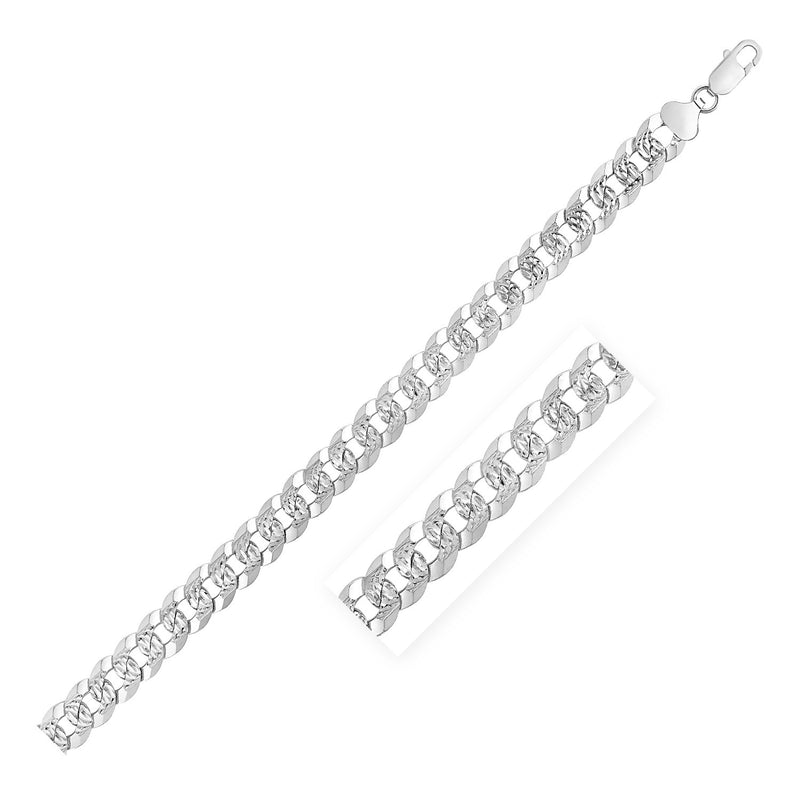 Sterling Silver Rhodium Plated Curb Chain 11mm