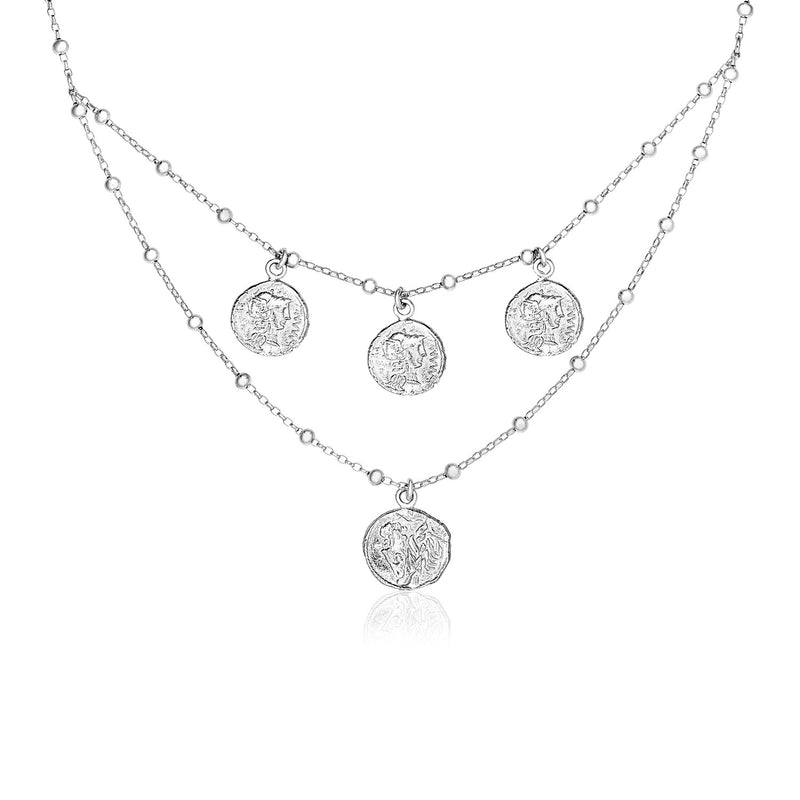 Sterling Silver 18 inch Two Strand Necklace with Roman Coins