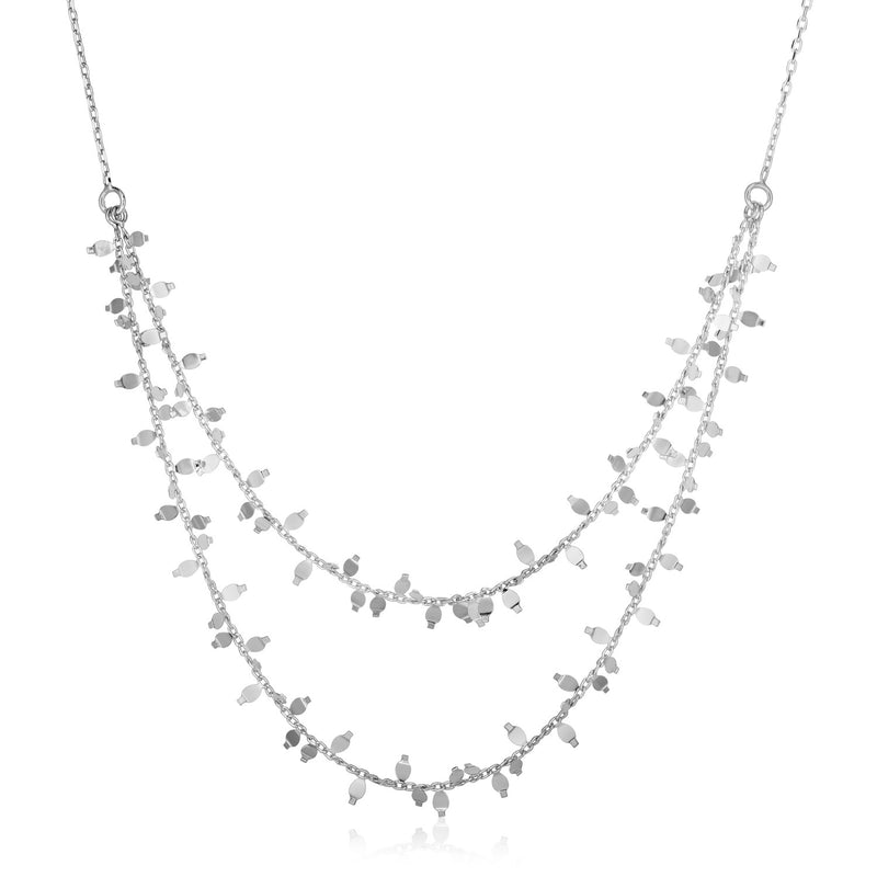 Sterling Silver 18 inch Leaf Motif Double Chain Necklace