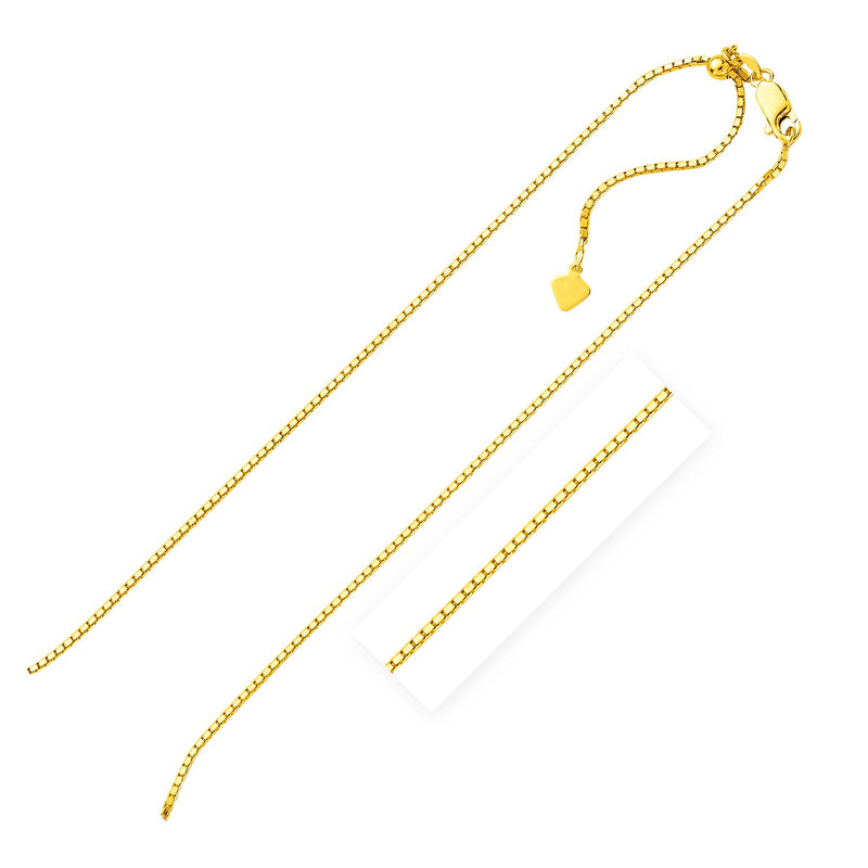 Sterling Silver Yellow Finish 1.4mm Adjustable Box Chain
