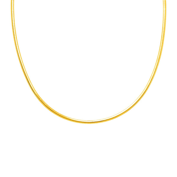 Classic Omega Chain Necklace in Rhodium Plated Yellow Finish Sterling Silver (1.25mm)