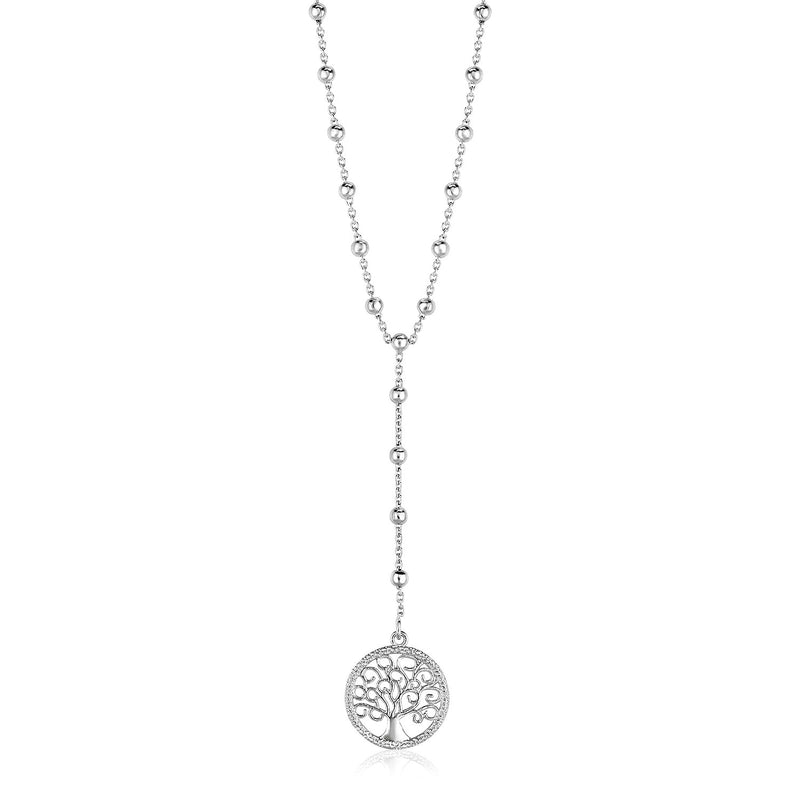 Sterling Silver Lariat Necklace with Tree of Life Symbol