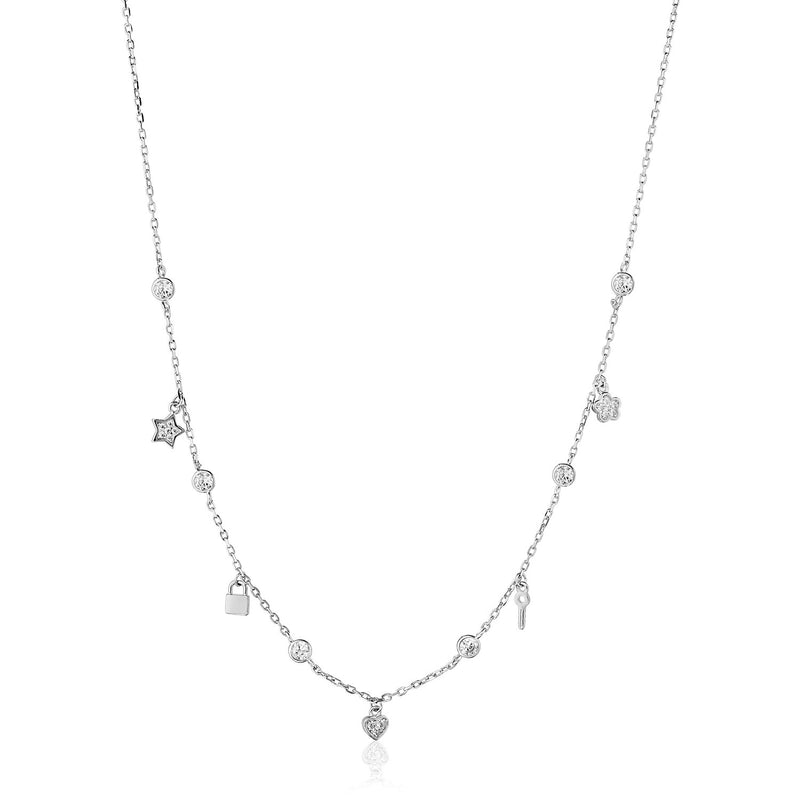 Sterling Silver 18 inch Necklace with Novelty Dangles and Cubic Zicronias