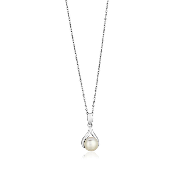 Sterling Silver Leaf Motif Necklace with Freshwater Pearl