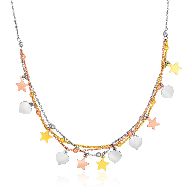 Sterling Silver 18 inch Three Toned Necklace with Polished Hearts and Stars