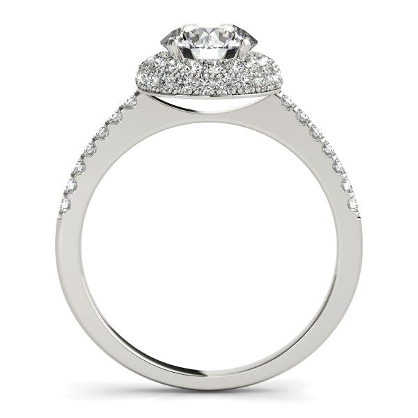 14k White Gold Classic Round Diamond Pave Design Engagement Ring (1 1/2 cttw)