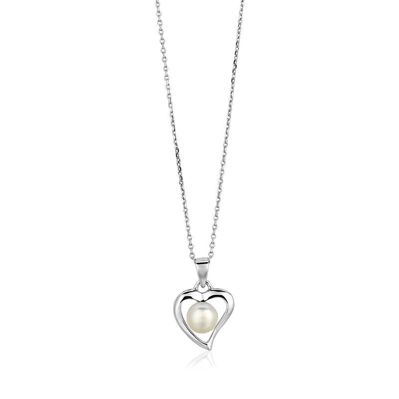 Sterling Silver Open Heart Necklace with Freshwater Pearl