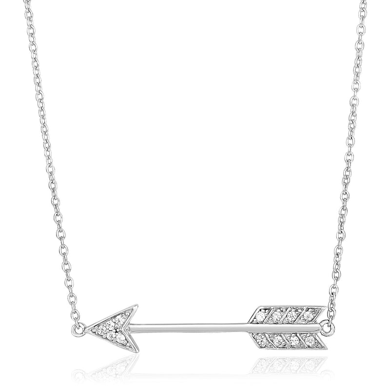Sterling Silver 18 inch Arrow Necklace with Cubic Zirconias
