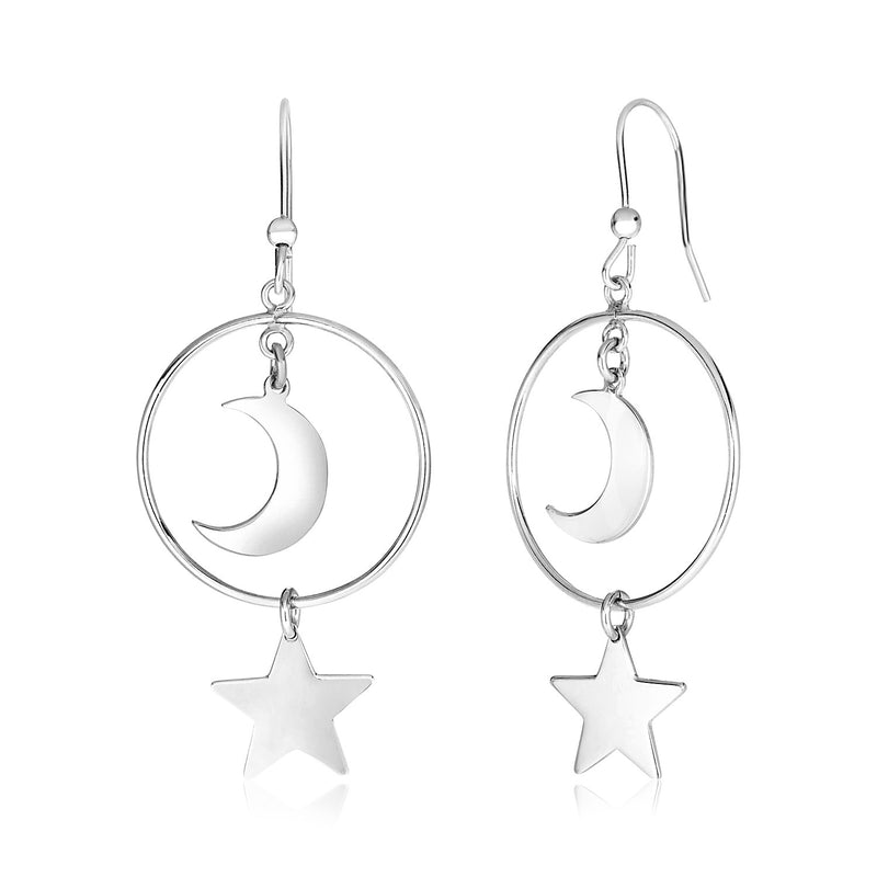 Sterling Silver Earrings with Polished Sun and Moon