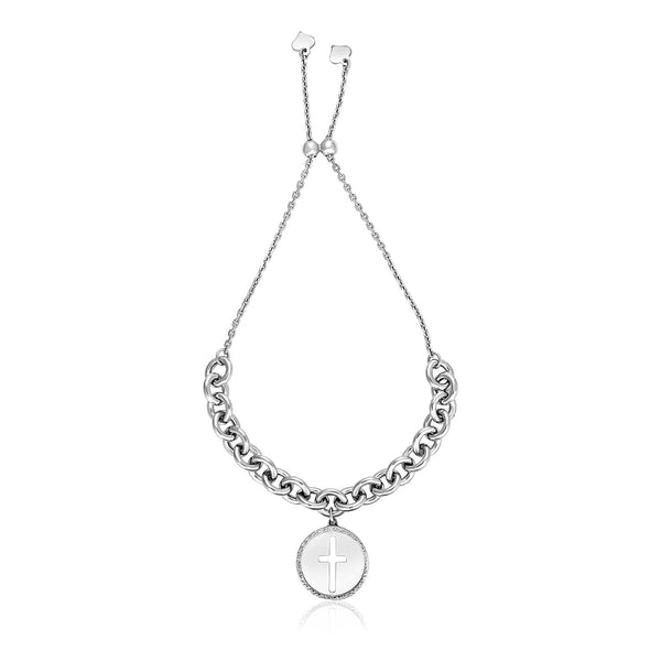 Sterling Silver 9 1/4 inch Adjustable Bracelet with Chain and Cross Charm