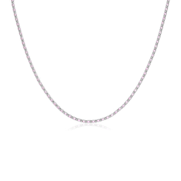 Sterling Silver 18 inch Necklace with Pink Cubic Zirconias