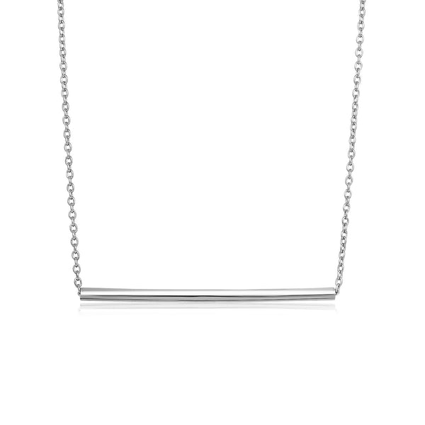 Sterling Silver Polished Straight Bar Necklace