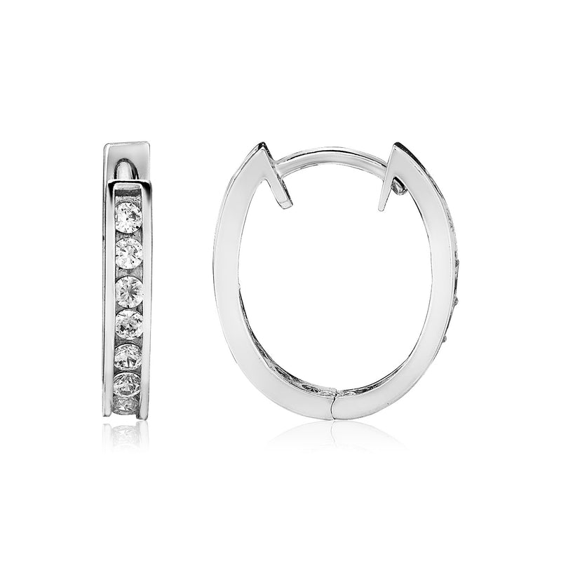 Sterling Silver Oval Hoop Earrings with Cubic Zirconias