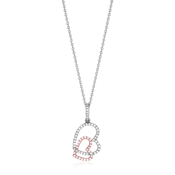 Sterling Silver Two Toned Necklace with Hearts and Cubic Zirconias