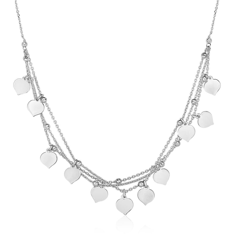 Sterling Silver 18 inch Multiple Chain Necklace with Polished Hearts