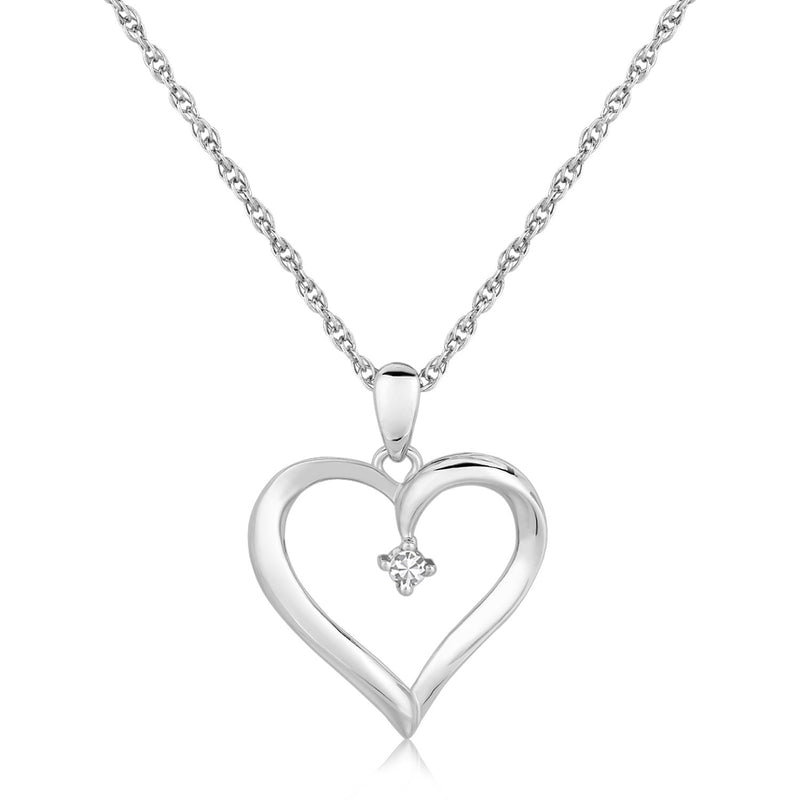 Sterling Silver Diamond Embellished Open Heart Pendant (.03 cttw)