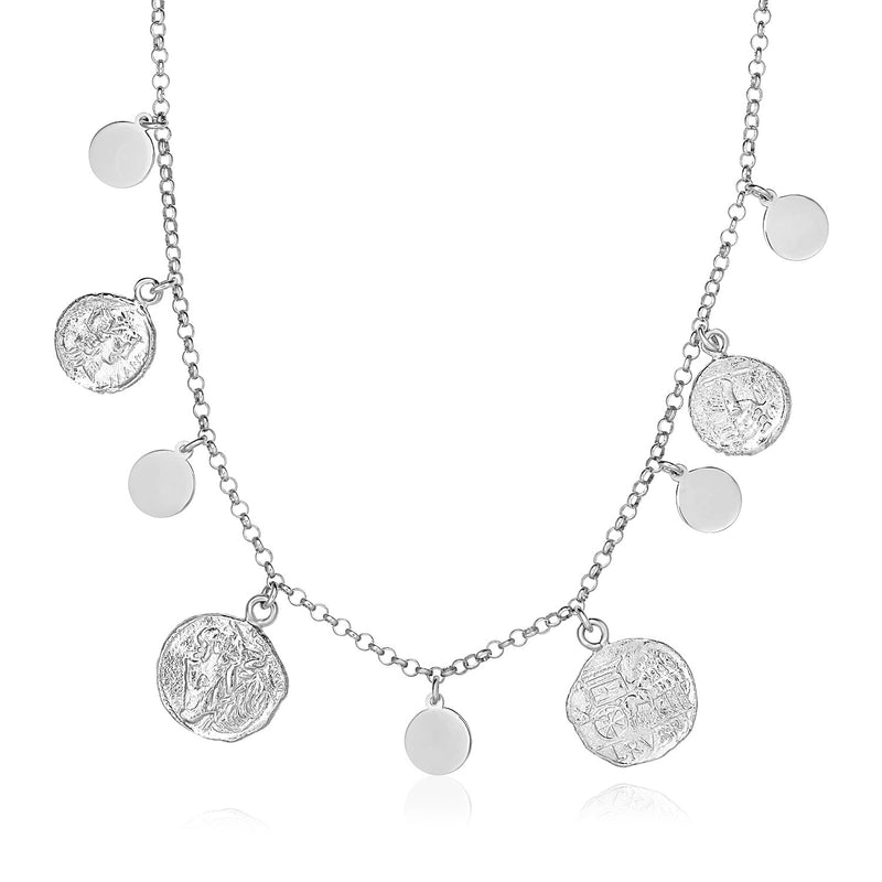 Sterling Silver 18 inch Necklace with Roman Coins and Polished Circle Charms