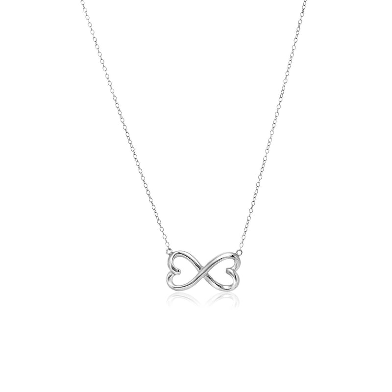 Sterling Silver Infinity Double Heart Necklace