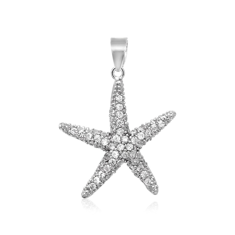 Sterling Silver Starfish Pendant with Cubic Zirconias
