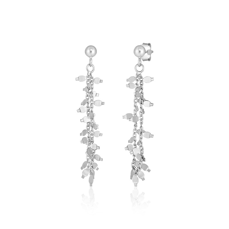 Sterling Silver Chain and Leaf Motif Dangle Earrings
