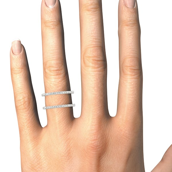 14k White Gold Dual Band Design Ring with Diamonds (1/3 cttw)