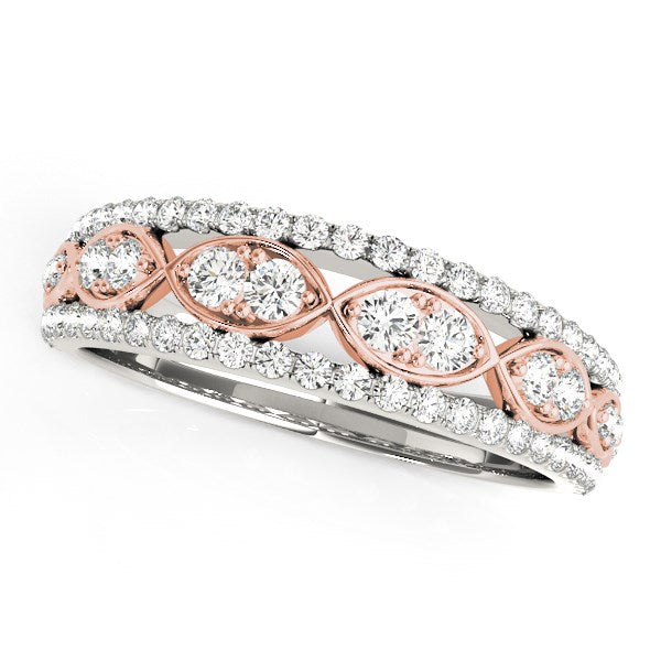 14k White And Rose Gold Doulbe Diamond Infinity Design Band (3/8 cttw)