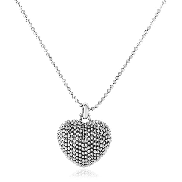 Sterling Silver 18 inch Necklace with Bead Textured Heart Pendant