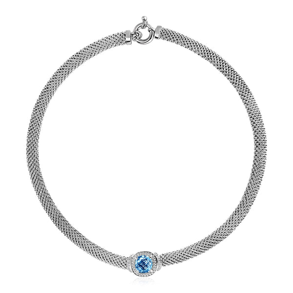 Popcorn Texture Necklace with Blue Topaz and Diamonds in Sterling Silver