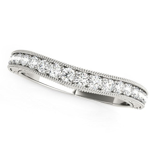 14k White Gold Bead Border Curved Diamond Wedding Ring (1/4 cttw)