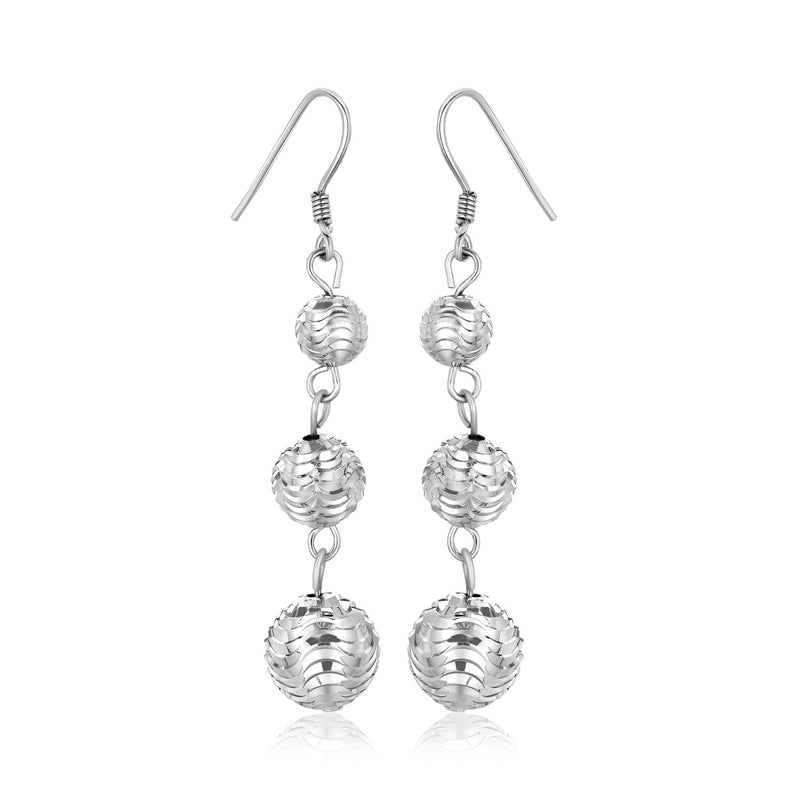 Sterling Silver Layered Textured Ball Dangling Earrings