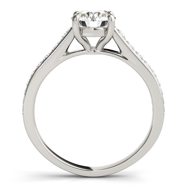 14k White Gold Graduated Single Row Diamond Engagement Ring (1 1/3 cttw)