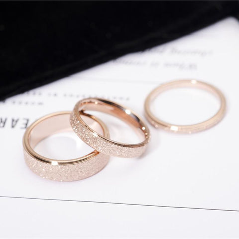 Rose Gold Color Frosted Finger Ring for Woman Man Wedding Jewelry 316L Stainless Steel Top Quality Never Fade Size 3-10-Artemis Attire