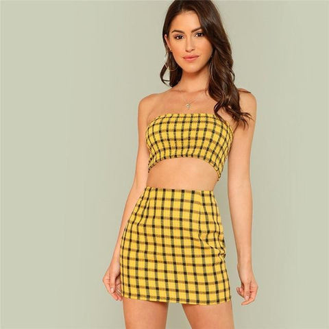 Plaid Print Shirred Strapless Crop Top And Skirt Set 2019 Summer Yellow Zipper Beach Two Piece Set Vacation Women Sets-Artemis Attire