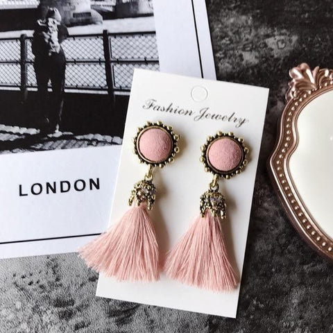 Tiny Tassel Earrings for Women Fashion Jewelry Vintage Velvet Ball Statement Fringed Drop Earring Female Jewellery 2019 New-Artemis Attire