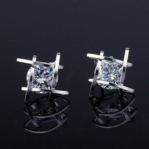 European and American Trinkets Triangle Zircon Earrings Toe Square Zircon Stud Earrings Women Earrings-Artemis Attire