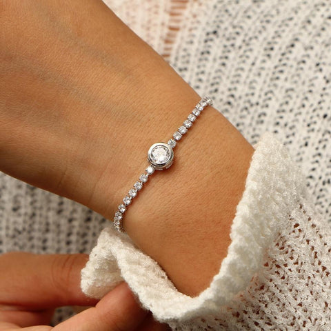 New Round Tennis Bracelet For Women Rose Gold Silver Color Cubic Zirconia Charm Bracelets & Bangles Femme Wedding Jewelry-Artemis Attire