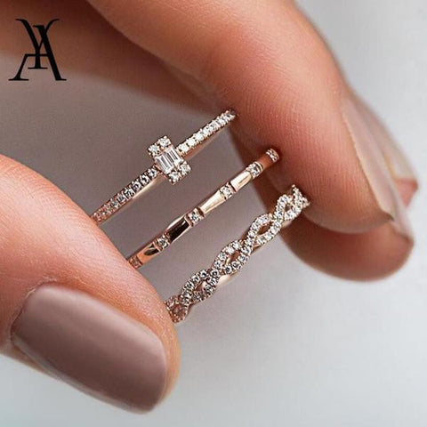 3Pcs/Set Fashion Geometry Intersect Crystal Rings Set For Women Girls Engagement Wedding Rings Female Party Jewelry-Artemis Attire
