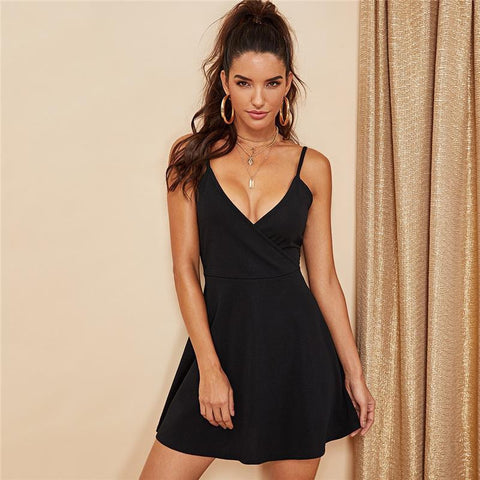 Black Party Sexy Backless Solid Wrap Sleeveless Natural Waist Cami Short Dress Summer Club Night Out Women Dresses-Artemis Attire