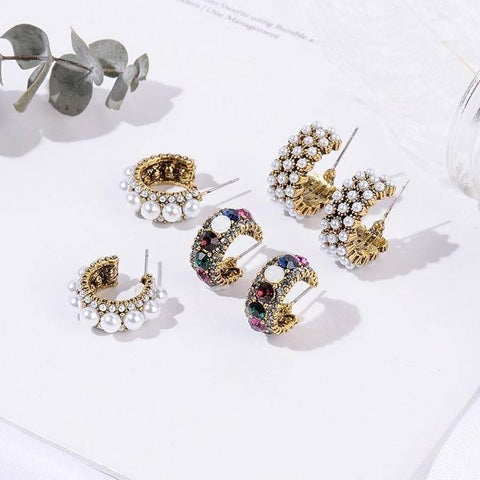 2019 New Hot Sale Vintage Colorful Rhinestone Small Hoop Earrings Women Fashion Simulated Pearl Semicircle Pendientes-Artemis Attire