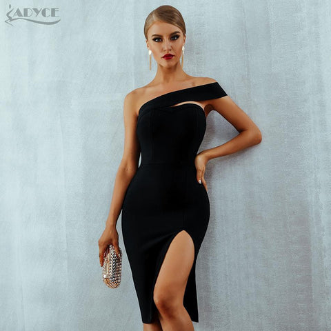 Bodycon Bandage Dress Women Vestidos Verano 2019 Summer Sexy Elegant White Black One Shoulder Midi Celebrity Party Dresses-Artemis Attire