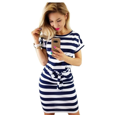2019 New Summer dress women vintage draped sexy bodycon vestidos striped short sleeve slim female dresses 10 colors high quality-Artemis Attire