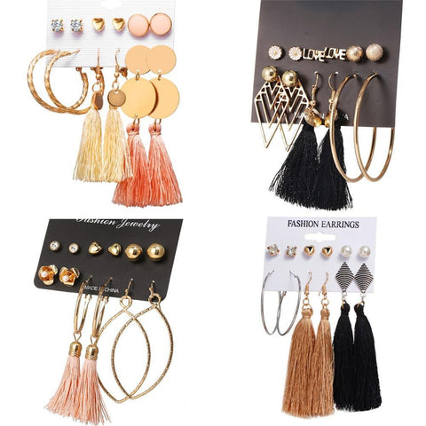 New Design Tassel Stud Earrings Set For Women Girl 2019 Bohemian Gold Flower Long Earring Female Fashion Wedding Jewelry-Artemis Attire