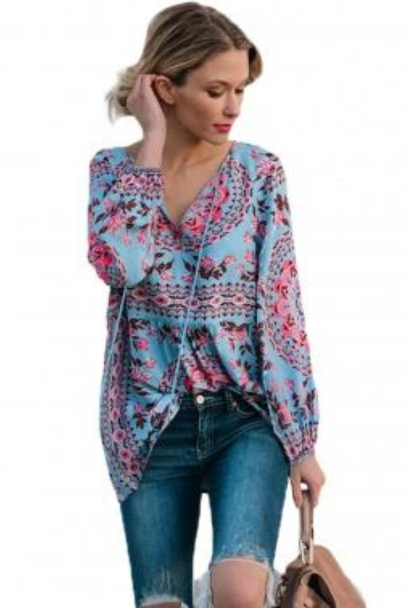 Blue Bohemian Print Tassel Tie V Neck Blouse With Side Zip