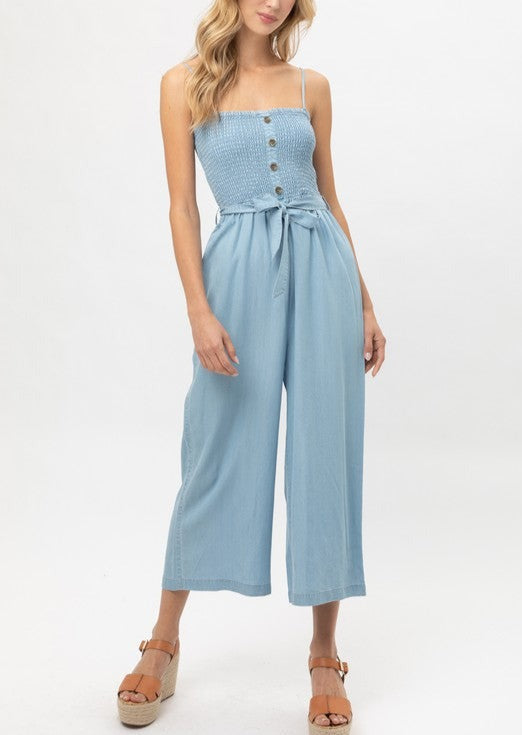 Smocked Chambray Jumpsuit