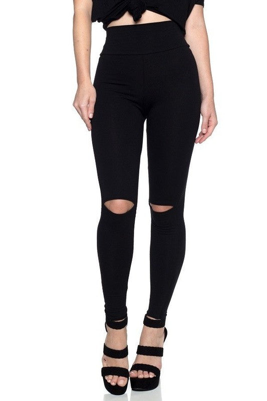 Black Cut Out Knee Slit Leggings, made in USA