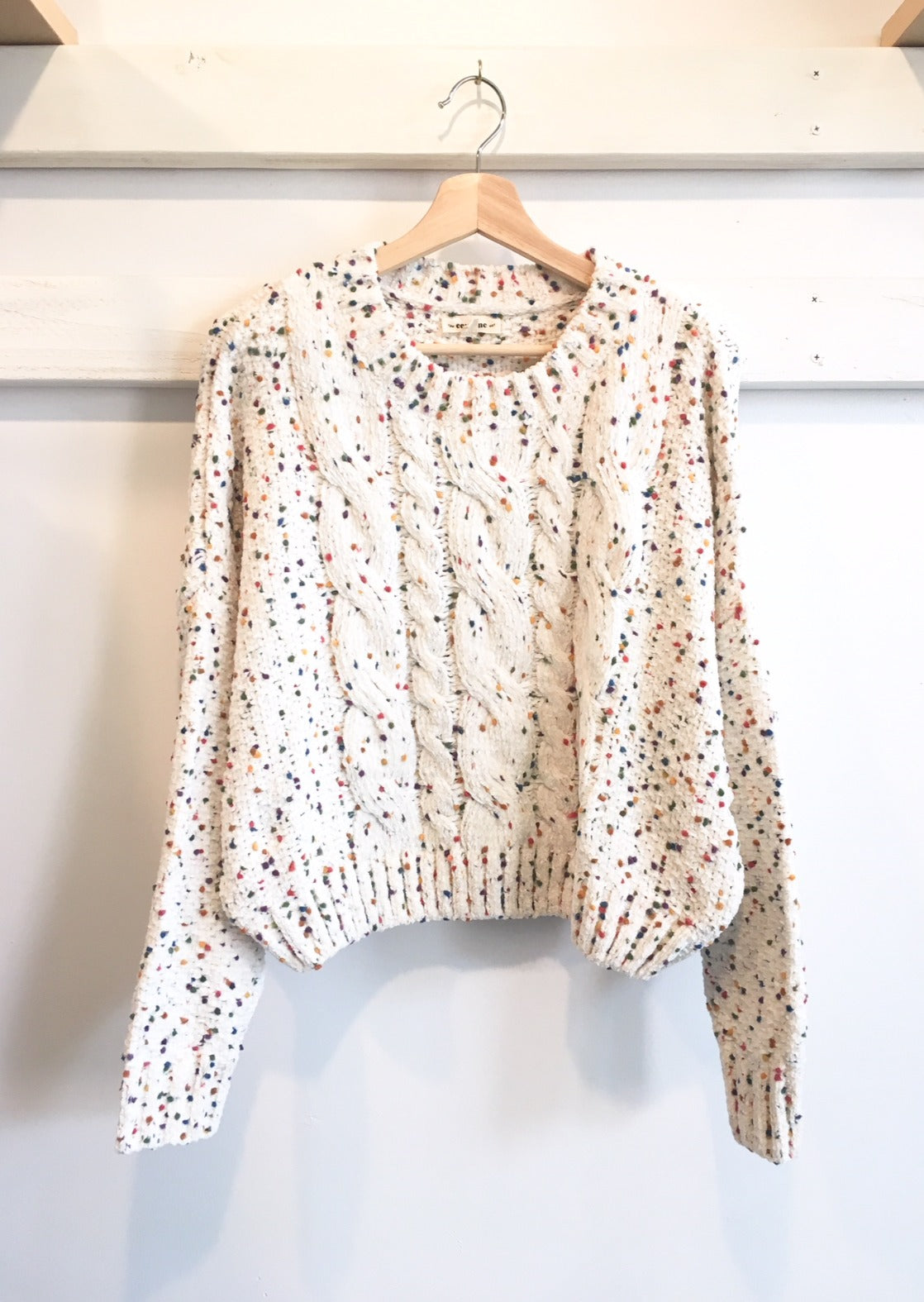 Speckle Chenille Cable Knit Sweater