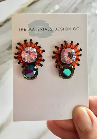 Floral Stud Earrings in Coral
