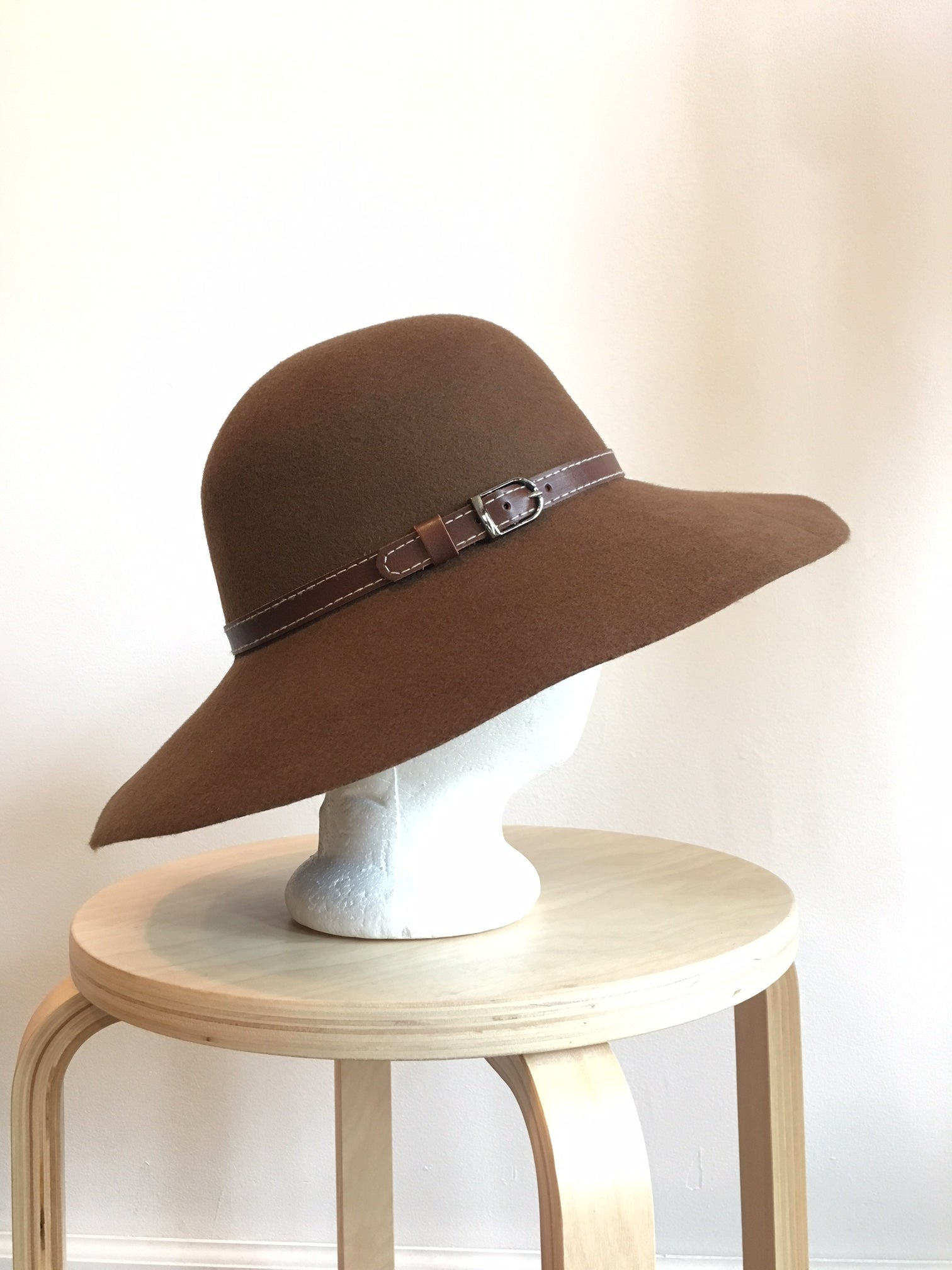 Wide Brim Wool Felt Hat Made in USA in Brown