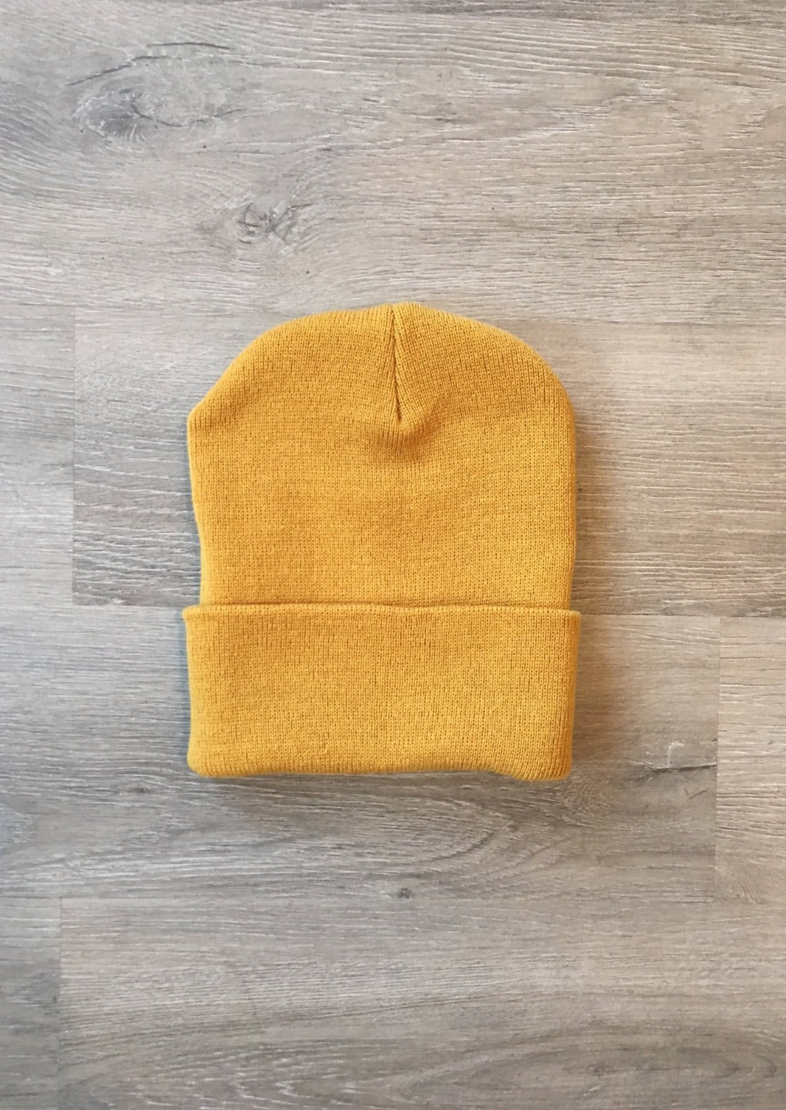 Made in USA Classic Cuffed Beanie Unisex Mustard Yellow